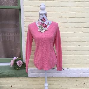 NWT Pink Cableknit Lightweight Sweater
